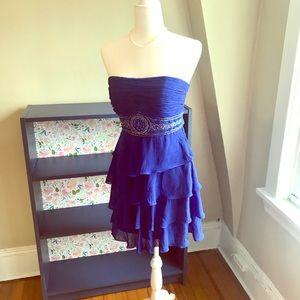 Sue Wong Royal Blue Strapless Cocktail Dress